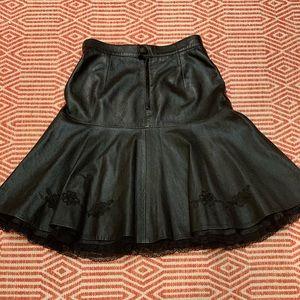Vintage Vera Pelle embroidered leather midi skirt